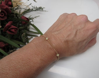 Ethiopian Opal Bracelet, October Birthstone Jewelry, Opal Necklace In 14K Gold Filled, Gemstone Bracelet, 6.5-8 Inches, Keira's Crystal