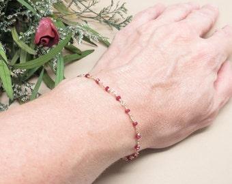 Longido Ruby Bracelet, July Birthstone Bracelet, Red Gemstone Bracelet In 14K Gold Filled, 6.75-8.25 Inches Length, Red Birthstone Bracelet