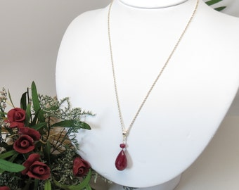 Ruby Necklace, Red Gemstone Necklace, July Birthstone Necklace, Dark Red Ruby Necklace In 14K Gold Filled, 16.5-19 Inches, Keira's Crystal