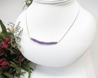 Amethyst Necklace, February Birthstone, Purple Gemstone Necklace In Sterling Silver, 16.5-19 Inches Length, Keira's Crystal Creations