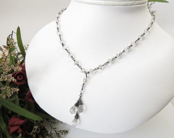 Crystal Quartz Necklace, April Birthstone, Clear Eye Gemstone In Oxidized Sterling Silver. 16.25-19 Inches, Quartz Wire Wrapped Necklace