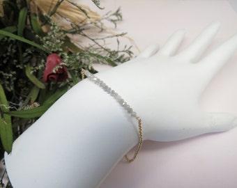 Genuine Diamond Bracelet, Grey-White Diamond Bracelet In 14K Yellow Gold, April Birthstone, 6-8.5 Inches Length, Gold Diamond Bar Bracelet