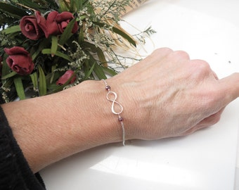 Infinity Bracelet, Birthstone Infinity Bracelet, Gemstone Infinity Bracelet In Sterling Silver,Bridesmaids Bracelet, Chose Your Birthstone