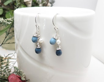 Peruvian Blue Opal With Pearl Earrings, October Birthstone, Blue Gemstone Earrings Sterling Silver, Blue Birthstone Earrings, Something Blue