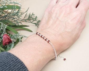 Garnet Bracelet, January Birthstone, Red Gemstone Bracelet In Sterling Silver, 7-8.25 Inches, Garnet Jewelry, Keira's Crystal Creations