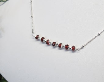 Garnet Necklace, January Birthstone, Red Gemstone Necklace In Sterling Silver, Garnet Jewelry, Delicate Necklace, Made By Keira