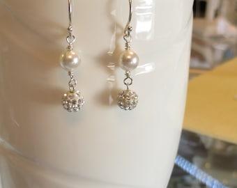 Sparly Pearl Clear Crystal Earrings, Swarovski Pearl  Pave Crystal Earrings, Bridal Jewelry, Bridal Earrings, Bridesmaids Earrings