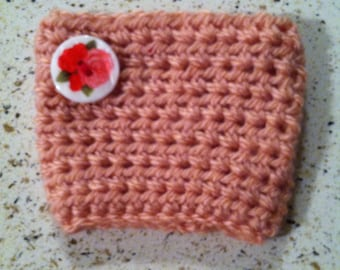 Coffee Cup Cozy with Vintage Flower Button- Pink, Red, Heather Grey, Mint Green or Pastel Purple