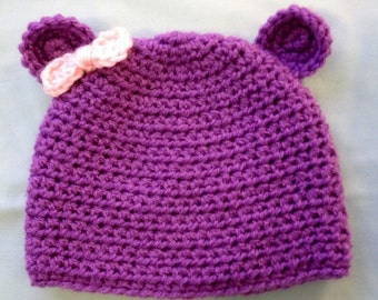 Purple Hat with Bear Ears and Pink Bow