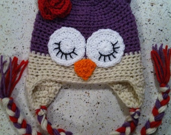Owl Hat- Purple & Antique White with Red Flower