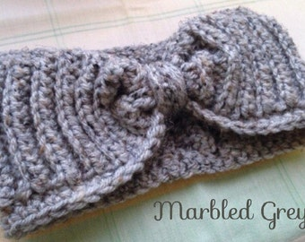 Handmade Crochet Headband/ Ear Warmer- Marbled Grey, Heather Grey, Oatmeal, Black