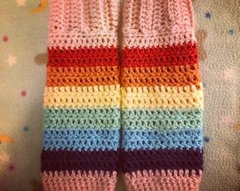 Little Girl Crochet Ruffled Top Rainbow Legwarmers