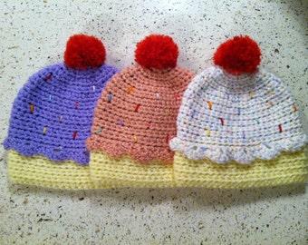 Cupcake Hat- Twinkle Print, Pink, or Pastel Purple