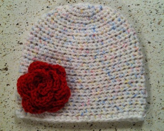 Twinkle Print Hat w/ Red Flower or Bow