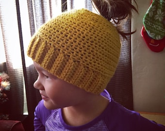"Handmade Crochet ""Mom"" Hat- Crochet Pony-tail Hat- Adult or Child size"