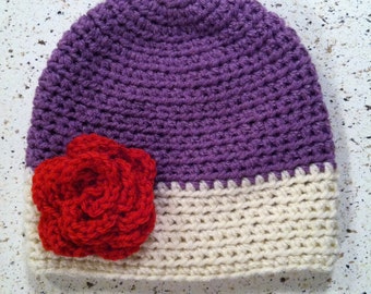 Purple & Antique White Hat with Red Flower or Bow