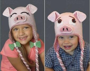 The Perfect Crochet Pig Hat Pattern (PDF FILE)