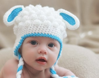 Baby Lamb Crochet Hat (1-3 months) - READY to SHIP SALE