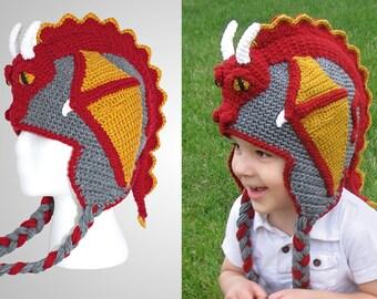 398516fd72e Crochet Dragon Hat Pattern (PDF File)