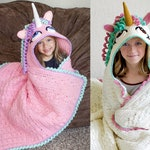 Crochet Unicorn Blanket Pattern - Hooded Wearable Pony Afghan. Easy Downloadable Instructions for baby girls, kids, teens & adults cute gift