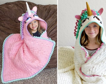 Crochet Unicorn Blanket Pattern - Cute Hooded Wearable Pony Afghan. Easy Downloadable Instructions for baby girls, kids, teens & adults gift