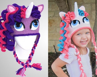 e1772859395 Crochet Unicorn Hat Pattern. Cute Pony Beanie Downloadable Instructions for  baby girls