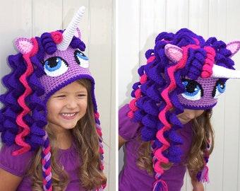 fe40ff724e6 Crochet Unicorn Hat Pattern. Cute Pony Beanie Downloadable Instructions for  baby girls