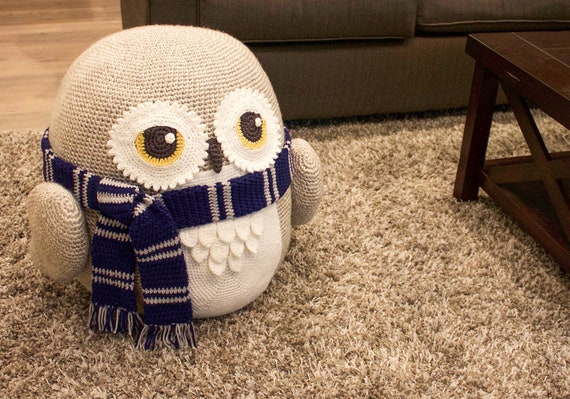 Groovy Crochet Owl Pouf Pouffe Ottoman Toy Pattern Easy Instructions For Cute Animal Home Decor Used As Footrest Or Cool Chair Pdf File Pdpeps Interior Chair Design Pdpepsorg