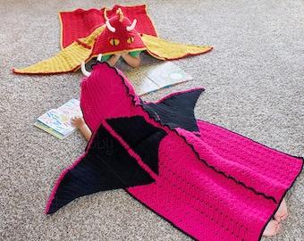 CROCHET PATTERN - Hooded Dragon Blanket Pattern (PDF File)