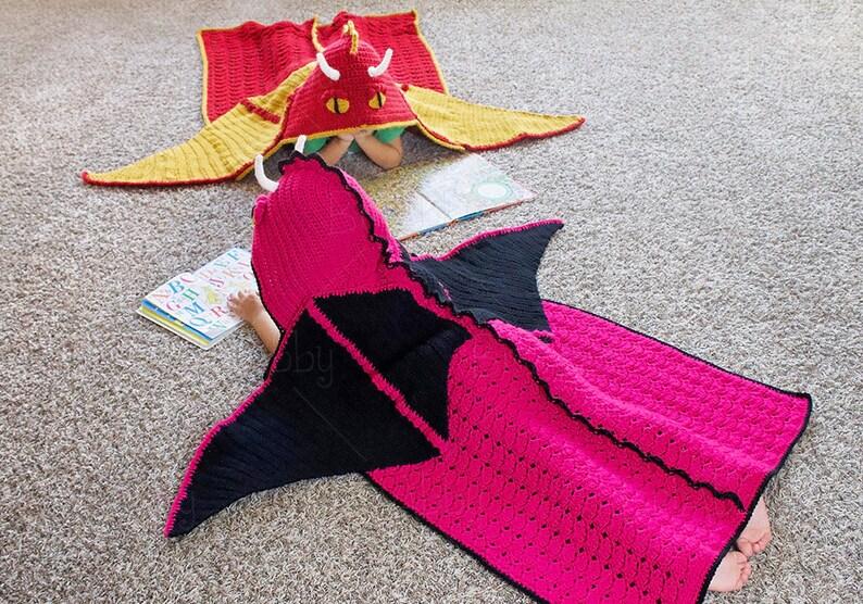 0b2f857fff CROCHET PATTERN Hooded Dragon Blanket Pattern PDF File