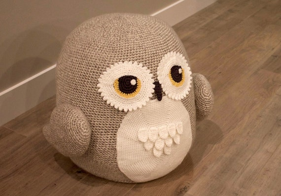 Stupendous Crochet Owl Pouf Pouffe Ottoman Toy Pattern Easy Instructions For Cute Animal Home Decor Used As Footrest Or Cool Chair Pdf File Pdpeps Interior Chair Design Pdpepsorg
