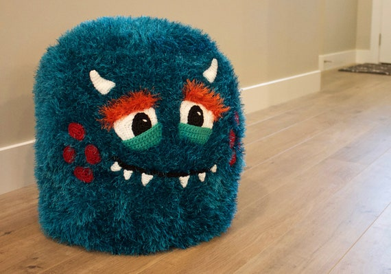 Swell Crochet Monster Pouf Pouffe Ottoman Toy Pattern Easy Instructions For Cute Animal Home Decor Used As Footrest Or Cool Chair Pdf File Squirreltailoven Fun Painted Chair Ideas Images Squirreltailovenorg