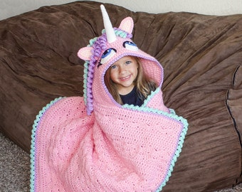 Crochet Unicorn Hooded Blanket Pattern (PDF FILE). Digital Instructions for Cute Pony Afghan. Great gifts for girls and grown women!