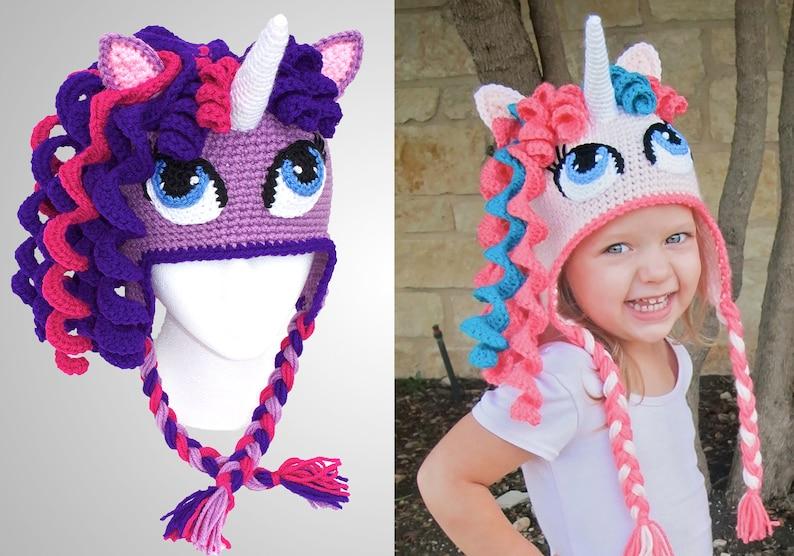 90f30a2fd80 Crochet Unicorn Hat Pattern. Cute Pony Beanie Downloadable