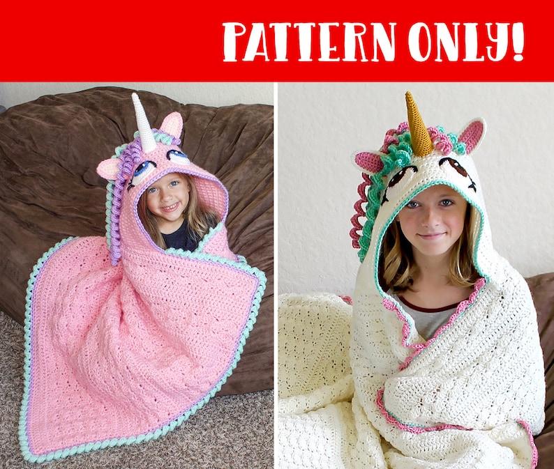 Crochet Unicorn Blanket Pattern  Cute Hooded Wearable Pony image 0