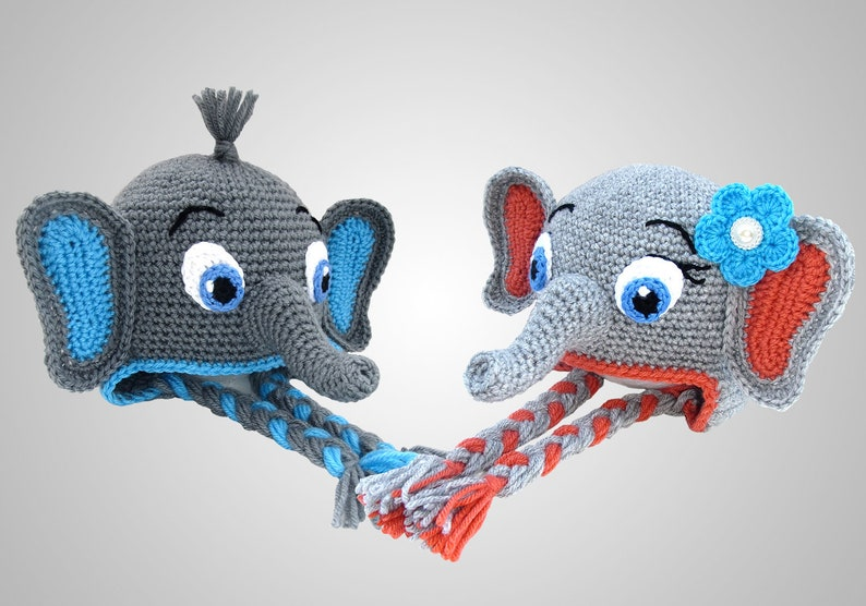 2a3497504 Crochet Elephant Hat Pattern. Easy Instructions for Boy & Girl Cute Animal  Earflap Beanie in Baby, Kid, Teen and Adult Sizes (PDF FILE)