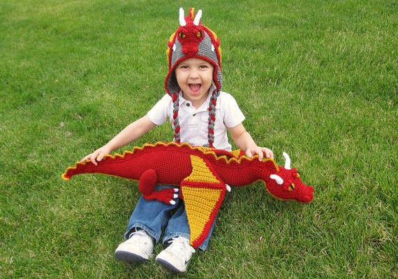 Crochet Dragon Hat /& Stuffed Animal Toy Pattern Combo Pack PDF File Easy and Cool Beanie and Stuffie Instructions for Kids and adults