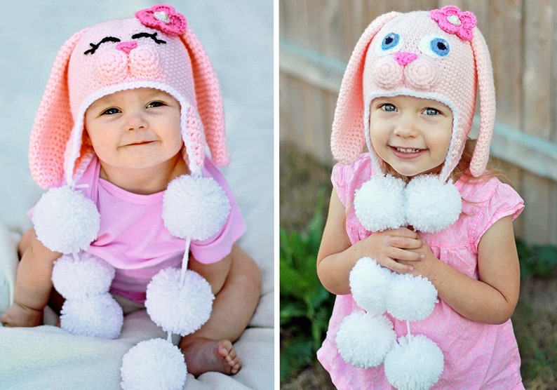 36162b822 Crochet Bunny Hat Pattern. Easy, Sweet Rabbit Earflap Beanie Instant  Download Instructions for cute baby, kid, teen & adult gifts - PDF FILE