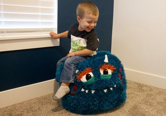 Groovy Crochet Monster Pouf Pouffe Ottoman Toy Pattern Easy Instructions For Cute Animal Home Decor Used As Footrest Or Cool Chair Pdf File Pdpeps Interior Chair Design Pdpepsorg