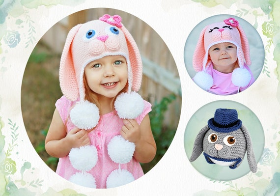 Crochet Bunny Hat Pattern. Easy, Sweet Rabbit Earflap Beanie Instant Download Instructions for cute baby, kid, teen & adult gifts - PDF FILE
