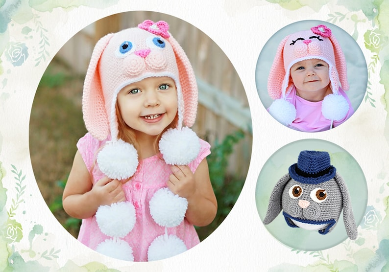 Crochet Bunny Hat Pattern. Easy Sweet Rabbit Earflap Beanie image 0