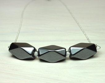 Statement stones bar necklace/ Geometric necklace .