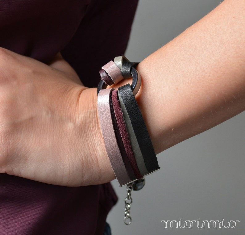 Unique bracelet Eco friendly scrap leather bracelet in purple and real hematite beads.