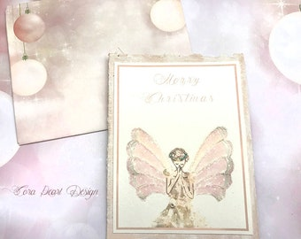 Glitter Angel Christmas Card On French Book Pages With Christmas Bauble Envelope Ooak Cards Miniature Art Fine Art Cards