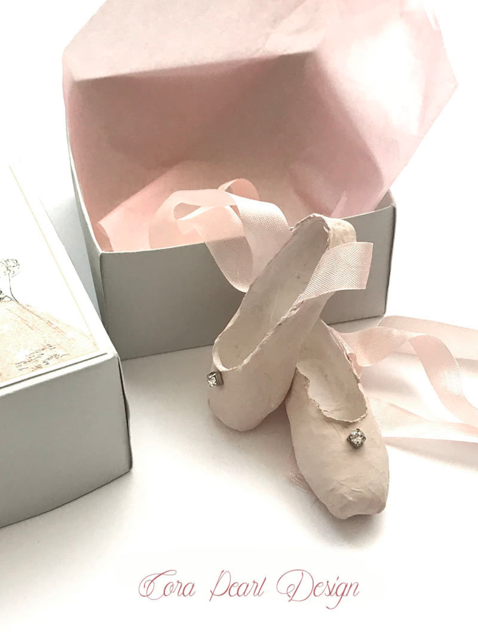 single vintage rhinestone pink paper miniature pointe shoes in gift box - paper ballet shoes - paper sculpture - ballet gifts