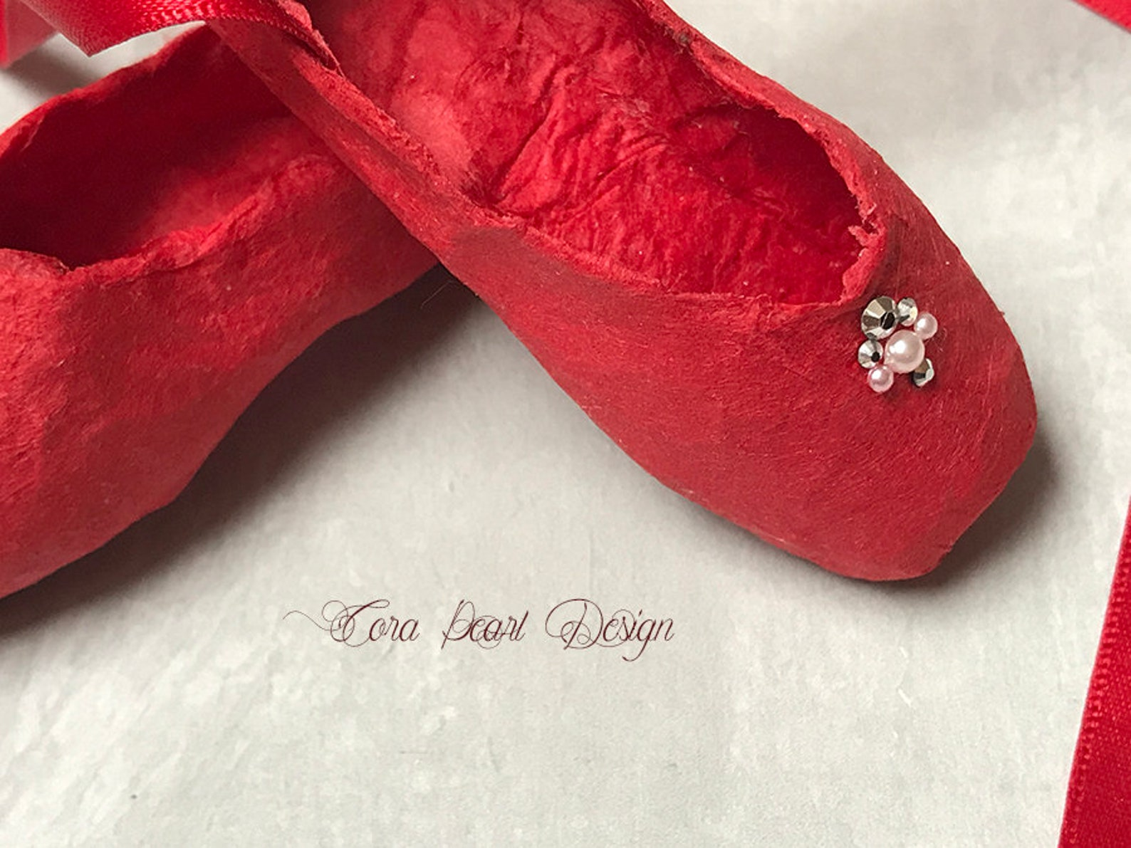 red paper miniature ballet shoes with swarovski and gift box - red paper pointe shoes - ballet ornaments , ballet christmas tree