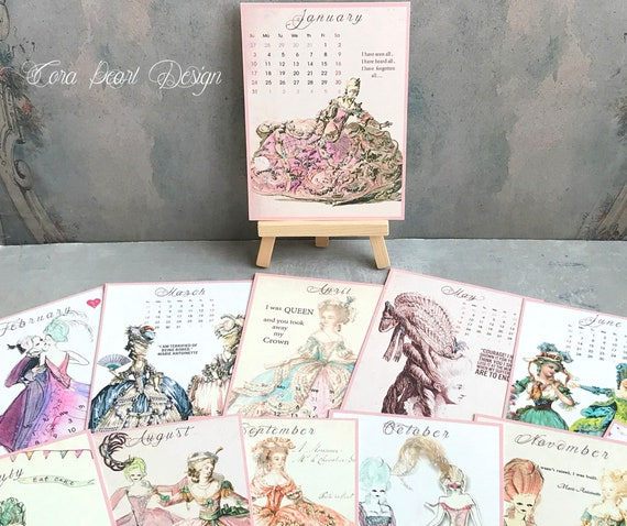 Calendrier 2021 Marie Antoinette Desk Calendar Calendrier | Etsy