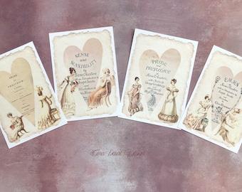 4 Jane Austen Regency Art Prints , Jane Austen Cards, Pride and Prejudice Postcards , Jane Austen Junk Journal cards