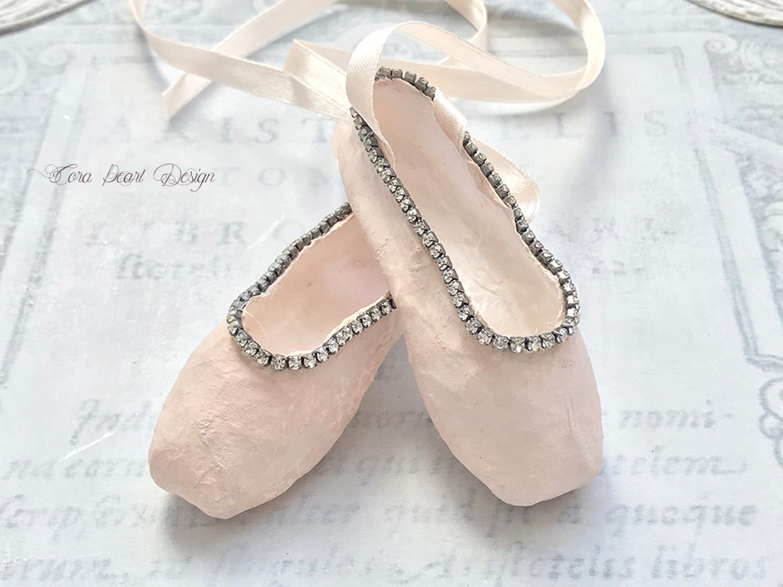 limited edition miniature pink paper pointe shoes with vintage rhinestones in marie antoinette gift box - paper ballet shoes - b