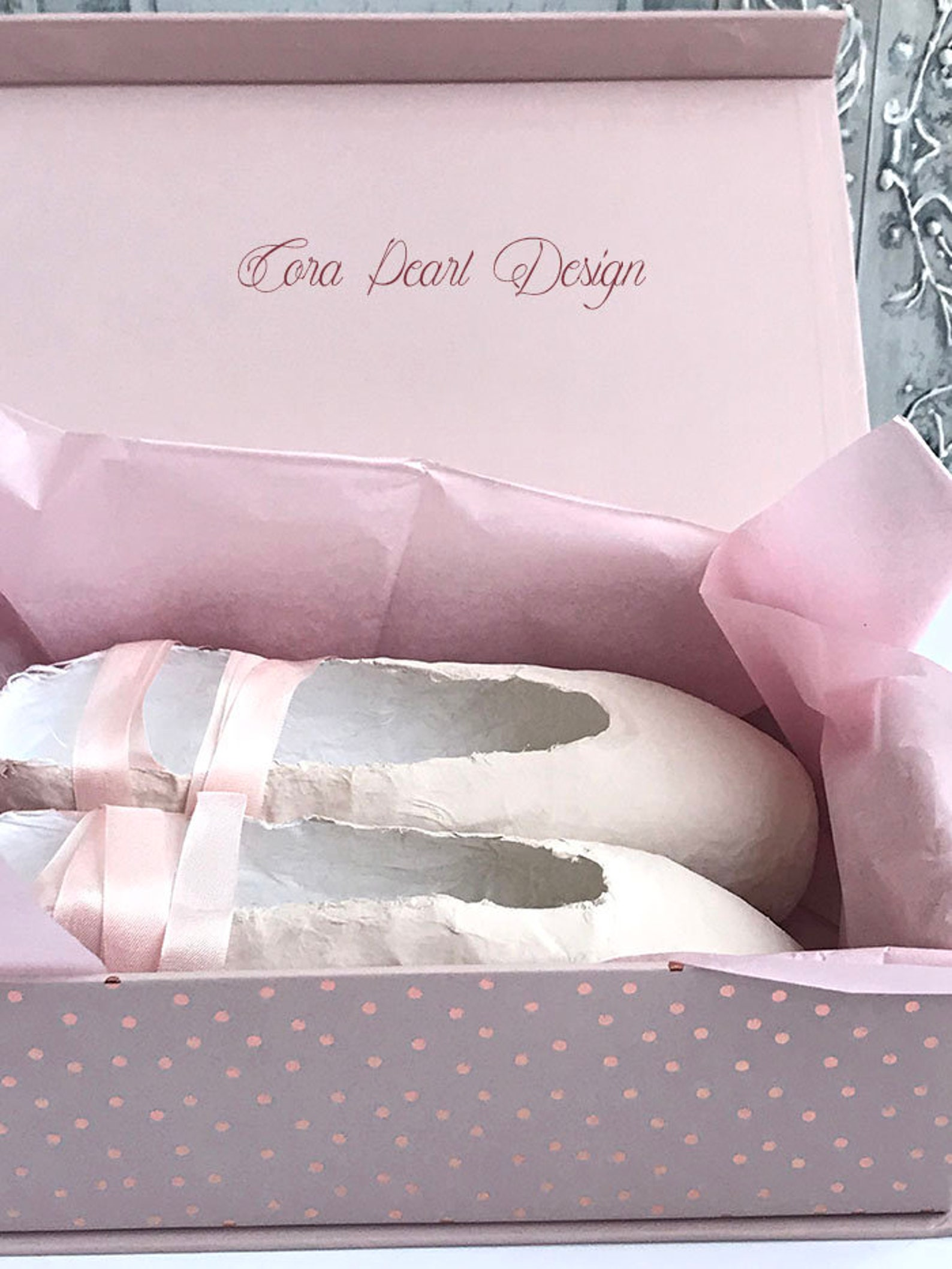 pale pink paper pointe shoes - pink paper ballet shoes - shoe ornament - ballet gift - ballet shoes - ballerina gifts - paper ba